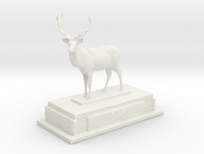 Stag on plinth  in White Natural Versatile Plastic