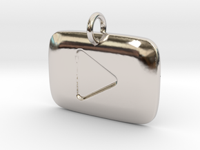 YouTube Play Button Pendant in Rhodium Plated Brass