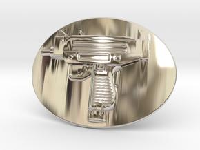 Mini Uzi Belt Buckle in Platinum