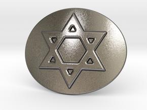 Star Of David Belt Buckle in Polished Nickel Steel