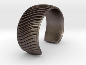 Braid Pattern 2 Cuff Medium A in Polished Bronzed Silver Steel