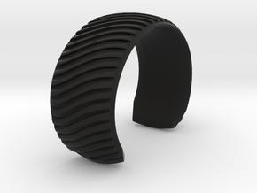Braid Pattern 2 Cuff Medium A in Black Natural Versatile Plastic
