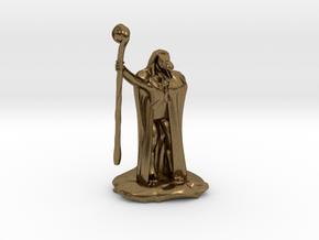 Kobold Warlock In Cloak With Staff  in Natural Bronze