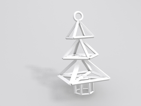 Modern Christmas Tree Earrings in White Strong & Flexible