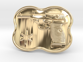 Walther P38 Belt Buckle in 14K Yellow Gold