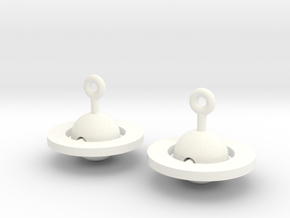 Saturn - Rotating Earrings (realistic scale) in White Processed Versatile Plastic