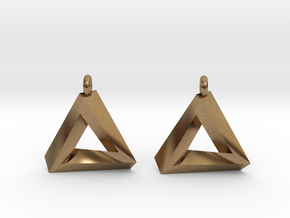 Penrose Triangle - Earrings (17mm) in Natural Brass