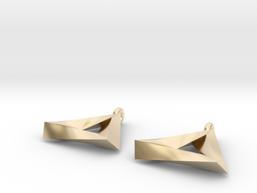 Penrose Triangle - Earrings (17mm | 2x mirrored) in 14k Gold Plated Brass