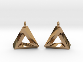 Penrose Triangle - Earrings (17mm | 1x mirrored) in Polished Brass