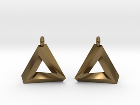 Penrose Triangle - Earrings (17mm | 1x mirrored) in Natural Bronze