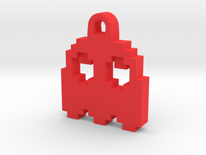 Pac Man Ghost 8-bit Earring 2 (looks up) in Red Strong & Flexible Polished