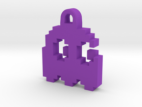 Pac Man Ghost 8-bit Earring 2 (looks right) in Purple Strong & Flexible Polished