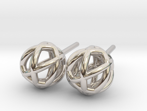 Woven Globe Earrings in Rhodium Plated Brass
