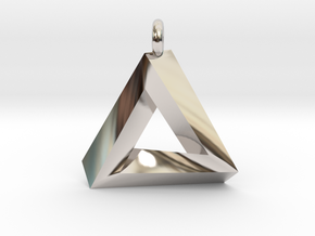 Penrose Triangle - Pendant (3.5cm | 3.5mm O-Ring) in Rhodium Plated Brass