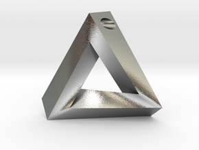 Penrose Triangle - Pendant (3.5cm | 3mm hole) in Natural Silver