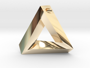 Penrose Triangle - Pendant (3.5cm | 3mm hole) in 14k Gold Plated Brass