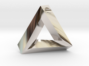 Penrose Triangle - Pendant (3.5cm | 3.5mm hole) in Rhodium Plated Brass