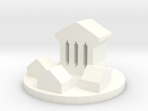 Game Piece, Ancient Greco-Roman City Token in White Processed Versatile Plastic