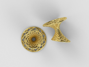 Diagrid Cufflinks - Circle in 18k Gold Plated Brass
