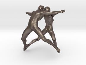 Hooped Joy Figures 70mm in Polished Bronzed Silver Steel