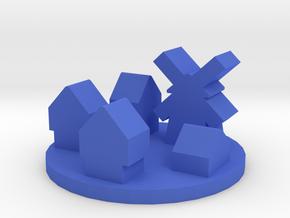 Game Piece, Medieval Europe Village Token in Blue Processed Versatile Plastic