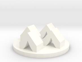 Game Piece, Army Camp Token in White Processed Versatile Plastic