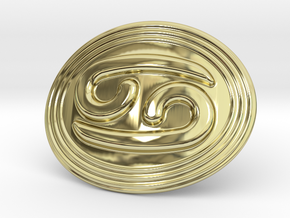 Cancer Belt Buckle in 18k Gold Plated Brass
