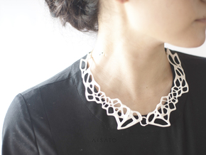 Lace Necklace in White Strong & Flexible Polished