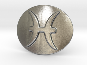Pisces Belt Buckle in Natural Silver