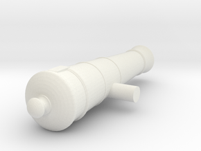 1:24 6 lb Short Cannon in White Natural Versatile Plastic