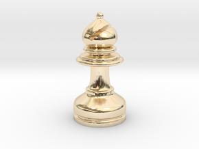 MILOSAURUS Chess MINI Staunton Bishop in 14k Gold Plated Brass