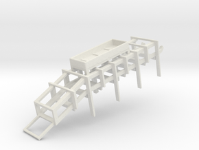 1/96 Scale DC Rack with Smoke Pot Box in White Natural Versatile Plastic