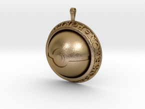 Pokeball Pendant in Polished Gold Steel