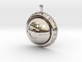 Pokeball Pendant in Rhodium Plated Brass