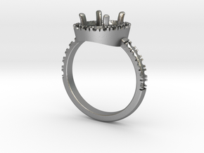 Engagement ring with halo in Natural Silver