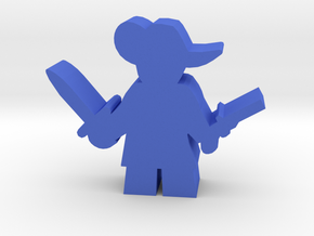 Game Piece, Musketeer, sword and pistol in Blue Processed Versatile Plastic