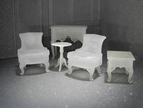 1:48 Sitting Room Set in Smooth Fine Detail Plastic