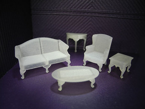 1:48 Queen Anne Living Room Set in Smooth Fine Detail Plastic