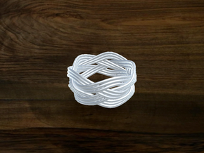 Turk's Head Knot Ring 4 Part X 5 Bight - Size 7 in White Natural Versatile Plastic