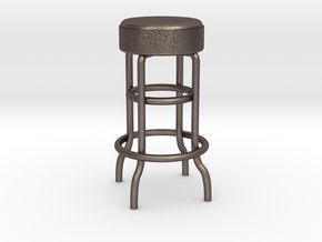 1-12.Metal Stool (not full size) in Polished Bronzed Silver Steel