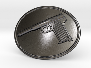 Astra Belt Buckle in Polished Grey Steel