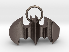 Batman keychain (or necklace ) in Polished Bronzed Silver Steel