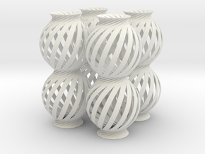 Lamp Ball Twist Spiral Column 4 Small Scale in White Natural Versatile Plastic