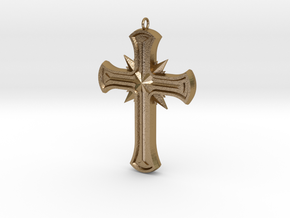 Gothic Cross in Polished Gold Steel