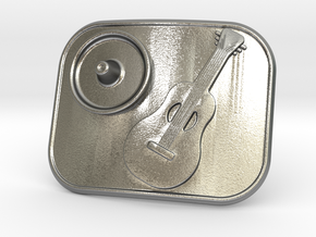 Mexico Guitarron Belt Buckle in Natural Silver