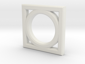 Circle Rectangle in White Natural Versatile Plastic