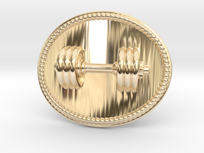 Dumbbell Belt Buckle in 14k Gold Plated Brass