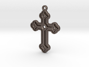Greek Cross in Polished Bronzed Silver Steel