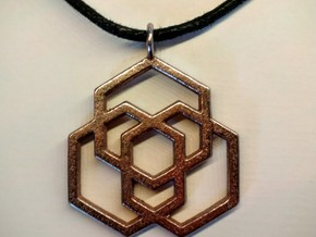Hex Pendant in Polished Bronzed Silver Steel