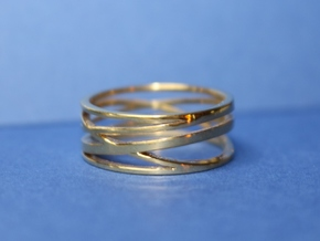 Abstract Lines Ring - US Size 12 in 18k Gold Plated Brass